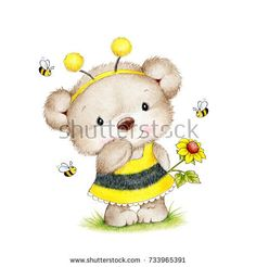 Cute Teddy bear in bee costume