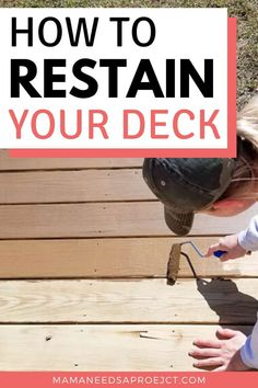 Restaining your wood deck can totally transform your outdoor space! Learn what to do (and not to do) from my deck restaining project. Woodworking Books, Easy Woodworking Projects, Deck Cleaner, Foam Paint Brush, Stain Techniques, Kids Activity Books, Painted Trays, Diy Deck