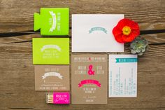 Neon wedding invites | Photos by EP Love | 100 Layer Cake | @BASH, PLEASE