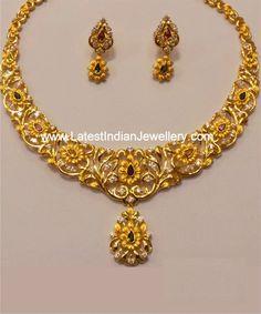 Dual Tone Gold Necklace Set #SencoGoldJewellery