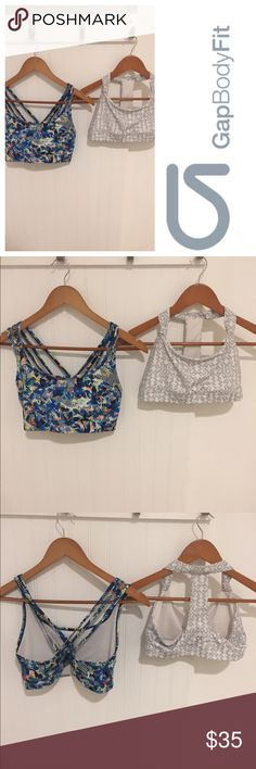 Gap Body Fit 2 pc print yoga bra tops M Size medium. Worn a few times but in excellent condition. See my closet for more great clothing, shoes, and accessories. 15% off a bundle of three or more items. GAP Tops Tank Tops