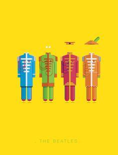 Paul Mc Cartney . John Lennon . Ringo Starr . George Harrison [The Beatles] Famous Costumes Poster by Frederico Birchal (Brasil)