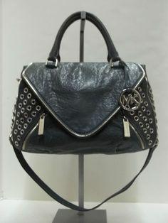 MICHAEL KORS Blue Leather Odette Grommet Zip Trim Satchel Handbag