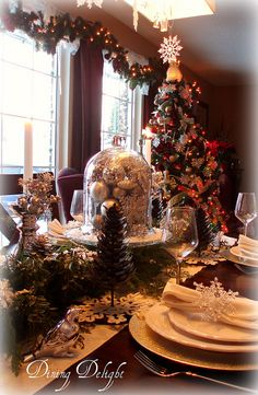 Christmas Cloche Tablescape by dining delight, via Flickr