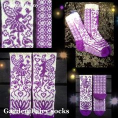 Gorgeous sock patterns from a talented Sweedish designer Ravelry: Garden Fairy socks pattern by JennyPenny Knitted Boot Cuffs, Knitted Slippers, Knit Mittens, Knitting Socks, Hand Knitting, Knitted Hats, Knitting Machine, Vintage Knitting, Crochet Socks
