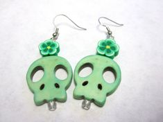 Skull Earrings Mint Green Sugar Skull Day of by sweetie2sweetie, $6.99