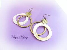 Gorgeous Brass And Hand Carved Mother Of Pearl Shell Hoop Pierced Earrings Vintage Jewelry