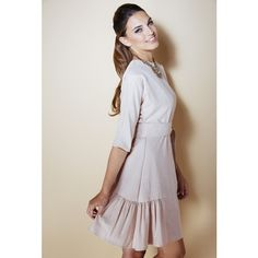 Caroline Modest Elegant Ann 3/4 sleeve Dress in Powder Pink ($134) ❤ liked on Polyvore featuring dresses, pink, knee length special occasion dresses, 3/4 sleeve cocktail dress, 3/4 length sleeve dresses, knee length evening dresses and pink cocktail dress