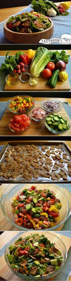 Fattoush! It's a tasty traditional Lebanese salad made with fresh veggies, crispy pita croutons and an irresistible lemony sumac dressing!  arousingappetites.com #lebanese #fattoush #sumac #salad