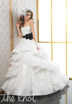 Gown features beading, lace, open back, curved basque waist, flowers and sash.