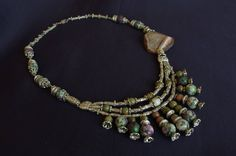 Necklace with agate MOSS agate Jasper and zoisite