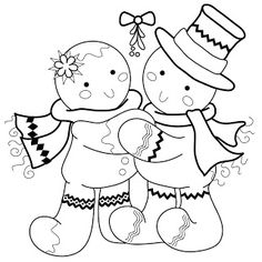 Best Wishes & Mistletoe Kisses Christmas Colors, Christmas Art, Christmas Projects, Gingerbread Crafts, Gingerbread Man, Colouring Pages, Coloring Books, Cross Stitch Embroidery, Embroidery Patterns