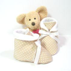 Chaussons bébé en coton beige à pois doublés en polaire 1 à 3 mois Tricotmuse : Mode Bébé par tricotmuse
