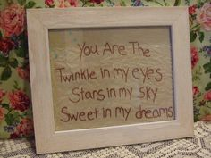 Framed art, Embroidery.Wall Hanging, You Are The.... $18.00, via Etsy.