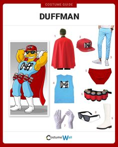 Feel like a superhero in this Duffman costume, as seen on the popular animated comedy series, The Simpsons. Duffman Costume, Got Costumes, Group Halloween Costumes, Cosplay Costumes, Halloween Ideas, Costume Ideas, Simpsons Party, The Simpsons, Simpsons Costumes
