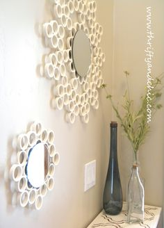 Thrifty and Chic - DIY Projects and Home Decor - Circle mirror and pvc pipe. Could I find mirrors the same size as the pvc circles?
