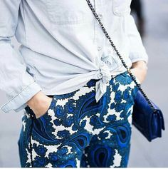 A denim shirt is always ok with a pair of printed pants