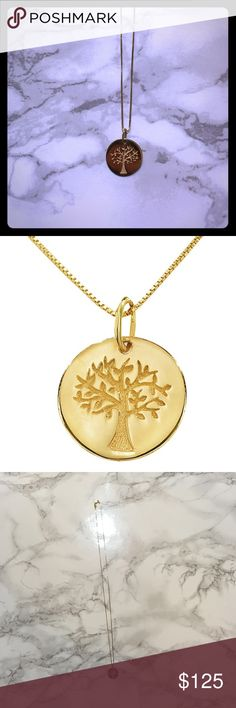 """Family Tree Pendant Stunning 14K yellow gold """"Family Tree"""" pendant necklace. Photos truly do not do it justice. 18 inch long chain. Never worn (I am not a jewelry person, it was a gift😊). In absolutely perfect condition! Jewelry Necklaces"""