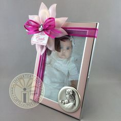Beautiful baptism frame with argento silver mother and child. Confetti flower and dark pink ribbon adorn this perfect pink frame ! Baptismal tag included with name and occasion. Perfect Pink, Mother And Child, Special Day, Confetti, Favors, Ribbon, Dark, Children, Frame