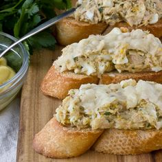 Tuna melts for grown-ups, with capers, parsley, broiled Parmesan cheese.