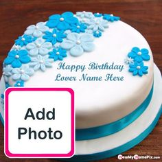 Rose Birthday Cake With Love Name Photo Frame Images Birthday Cake For Wife, Birthday Cake Write Name, Happy Birthday Wishes For A Friend, Birthday Cake Writing, Friends Birthday Cake, Happy Birthday Wishes Cake, Happy Birthday Cake Images, Birthday Cake With Photo, Happy Birthday Celebration