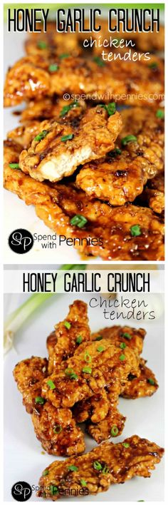 Honey Garlic Crunch Chicken Tenders! Double dipped and deliciously crunchy coated in a sticky honey garlic sauce... these are seriously delicious!