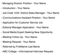 best formats for sending job search emails job search messages