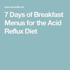 7 Days of Breakfast Menus for the Acid Reflux Diet