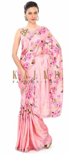 Buy Online from the link below. We ship worldwide (Free Shipping over US$100) Price- $129 Click Anywhere to Tag http://www.kalkifashion.com/pink-saree-in-floral-print-with-embroidered-border-only-on-kalki.html