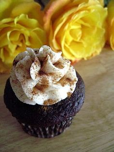 mexican hot chocolate cupcakes....in honor of cinco de mayo!  :)    OMG - these are amazing!!  The only downfall is the homemade icing...worth making but it has to stay cold or it gets really soft.  Definitely making these again!! :)
