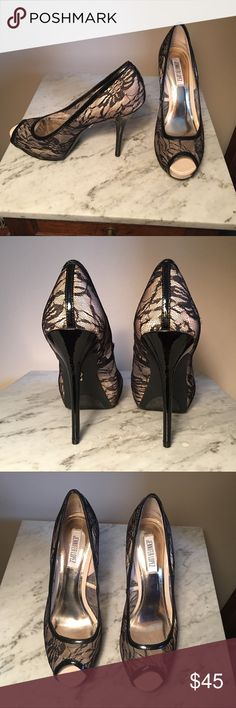 Jennifer Lopez Black Stiletto Heels Beautiful Jennifer Lopez lace black stilettos.  Appear to never have been worn (see pics). There are a couple of tiny indents on left toe (last pic) not noticeable when worn. Size 9M. They pair perfectly with my dresses ❤️ Bundle and save! Jennifer Lopez Shoes Heels