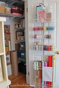 Craft Room Storage, Craft Room Closet, Craft Closet Organization, Paper Storage, Closet Storage, Organization Ideas, Storage Ideas, Ribbon Storage, Craft Rooms
