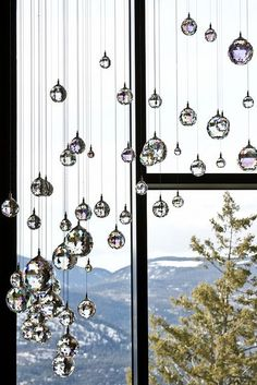 Hanging Crystals by melbaczuk, via Flickr Hanging Ceiling Decorations, Ceiling Hanging, Window Hanging, Crystal Curtains, Beaded Curtains, Crystal Wind Chimes, Faceted Crystal, Hanging Crystals, Room Decor