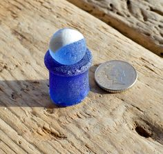 Reserved for Oakleynellie - COBALT MARBLE STAND - Blue Sea Marble - Sea Glass Stand - Bottle Neck (4140)