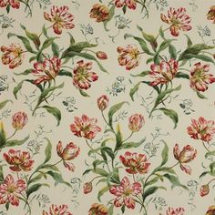 Colefax and Fowler Delft Tulips in Pink/Green