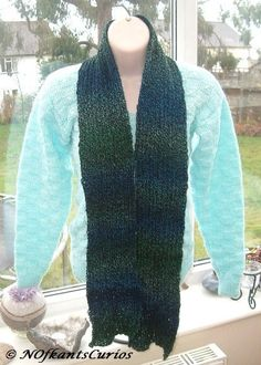 Blue Green Spectrum Knitted Ribbed Scarf. £14.00