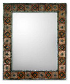 Repoussé Copper Mirror India Ceramic Wall Art Handmade - Autumn Warmth | NOVICA