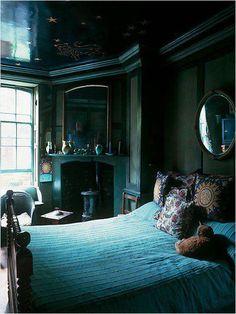 beautiful dark green bedroom