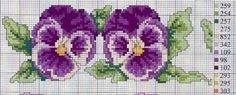 I love pansies! Cross Stitch Bookmarks, Cross Stitch Bird, Cross Stitch Borders, Cross Stitch Flowers, Cross Stitch Charts, Cross Stitch Designs, Cross Stitching, Cross Stitch Embroidery, Cross Stitch Patterns
