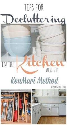 The best tips for using the Konmari Method to declutter and organize the kitchen; clearing countertops, getting rid of unused items; sparking more joy in the home. Organisation Hacks, Organizing Hacks, Organizing Your Home, Kitchen Organization, Decluttering Ideas, Organization Station, Bedroom Organization, Organize Life, Diy Rangement