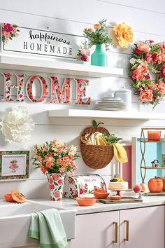 Spring Kitchen Decor, Spring Home Decor, Fall Decor, Holiday Decorations, Seasonal Decor, Peach Decor, Peach Kitchen, Austin House, Room Planner