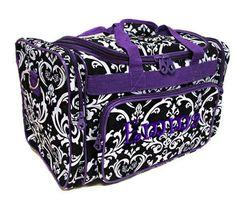 Personalized Duffle Bag Damask Black Purple Dance by parsik93