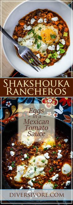 Shakshouka Rancheros - Mexican style eggs cooked in a spiced tomato Shakshouka Rancheros - Mexican style eggs cooked in a spiced tomato Mexican Breakfast Recipes, Mexican Food Recipes, Vegetarian Recipes, Mexican Appetizers, Healthy Recipes, Egg Recipes, Brunch Recipes, Pancake Recipes, Crepe Recipes