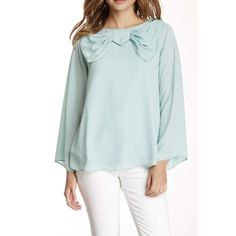 "Light blue blouse with bow. Gorgeous light blue blouse with bow• Long bell sleeves• Wide scoop neck• keyhole back with button closure.(25"" length) VAVA Tops Blouses"