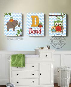 Nursery Art  Nursery Decor  Elephant  Owl  Canvas Art  by MuralMAX, #babyboynursery #modernursery