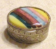 Vintage Italian Pill Box Scroll Work Signed Rainbow Motif Trinket Box