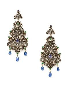 Amrapali Emerald & Sapphire Filigree Chandelier Earrings