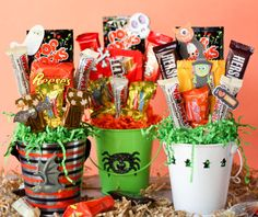 I love making candy bouquets to hand out to friends and neighbors every October. They are such fun and festive gifts, and they don't take long at all! My son gets in on the action, helping me pick candy...