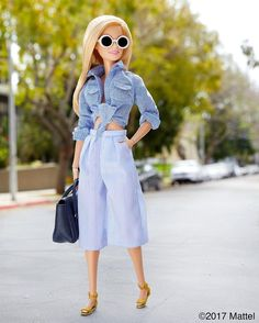 Style tip: mix textures and prints to maximize a monochromatic look! #barbie #barbiestyle