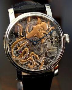 KudoKtopus recto/verso by Kudoke #Watch #Tentacles #Octopus - Steampunk Tendencies - Google+